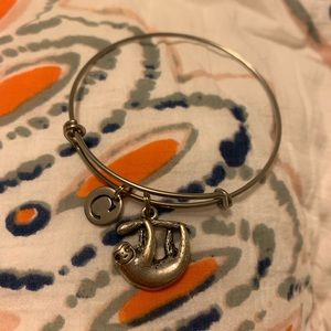 "Alex and Ani Bracelet: letter ""c"" and Sloth"